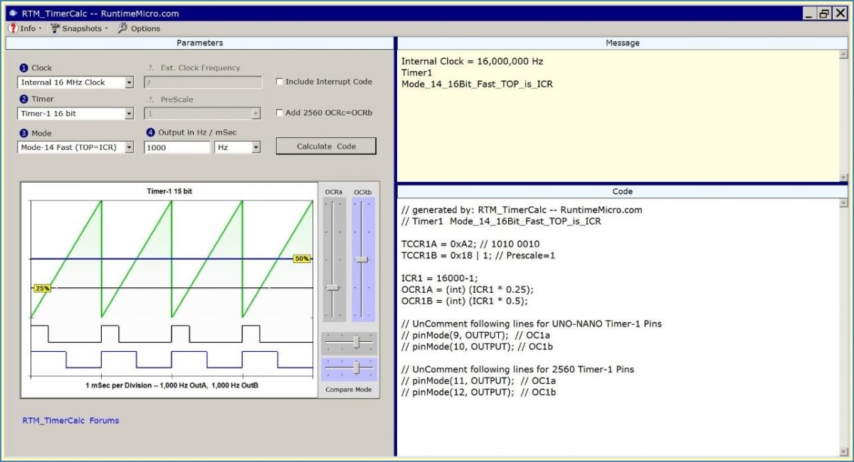 Image shows WYSIWYG PWM App for Arduino.