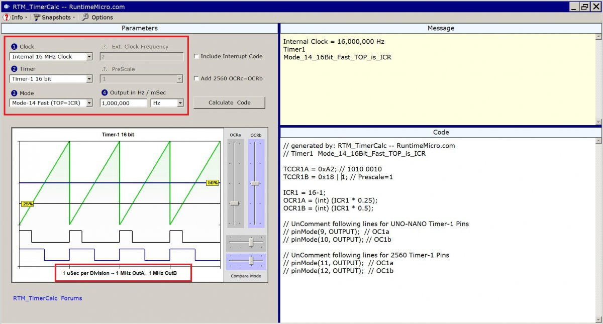 Image shows view of RTM_TimerCalc application