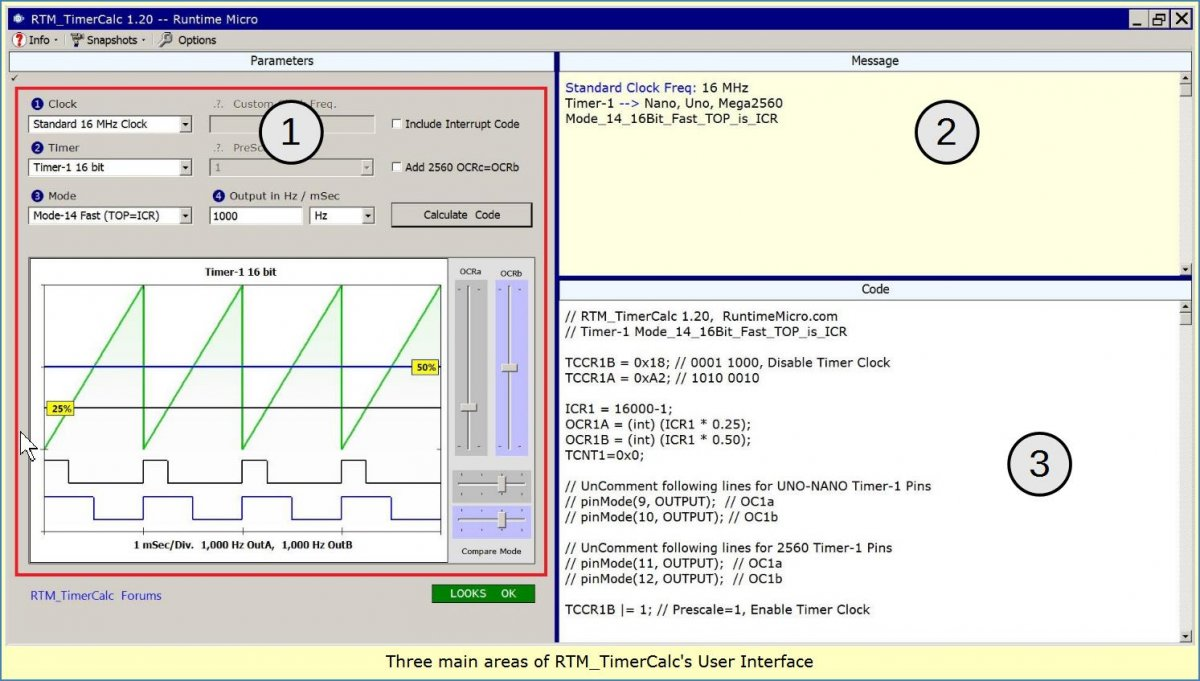 Image shows the three main areas of the RTM_TimerCalc interface.