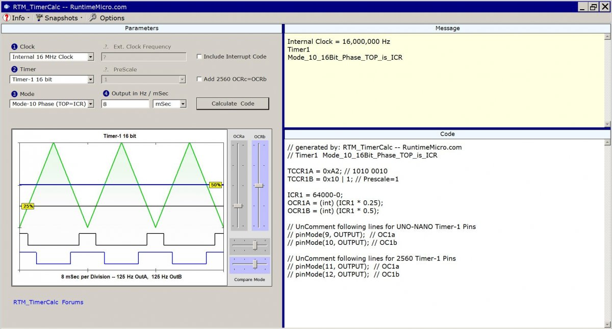 Image shows one view of the RTM_TimerCalc application