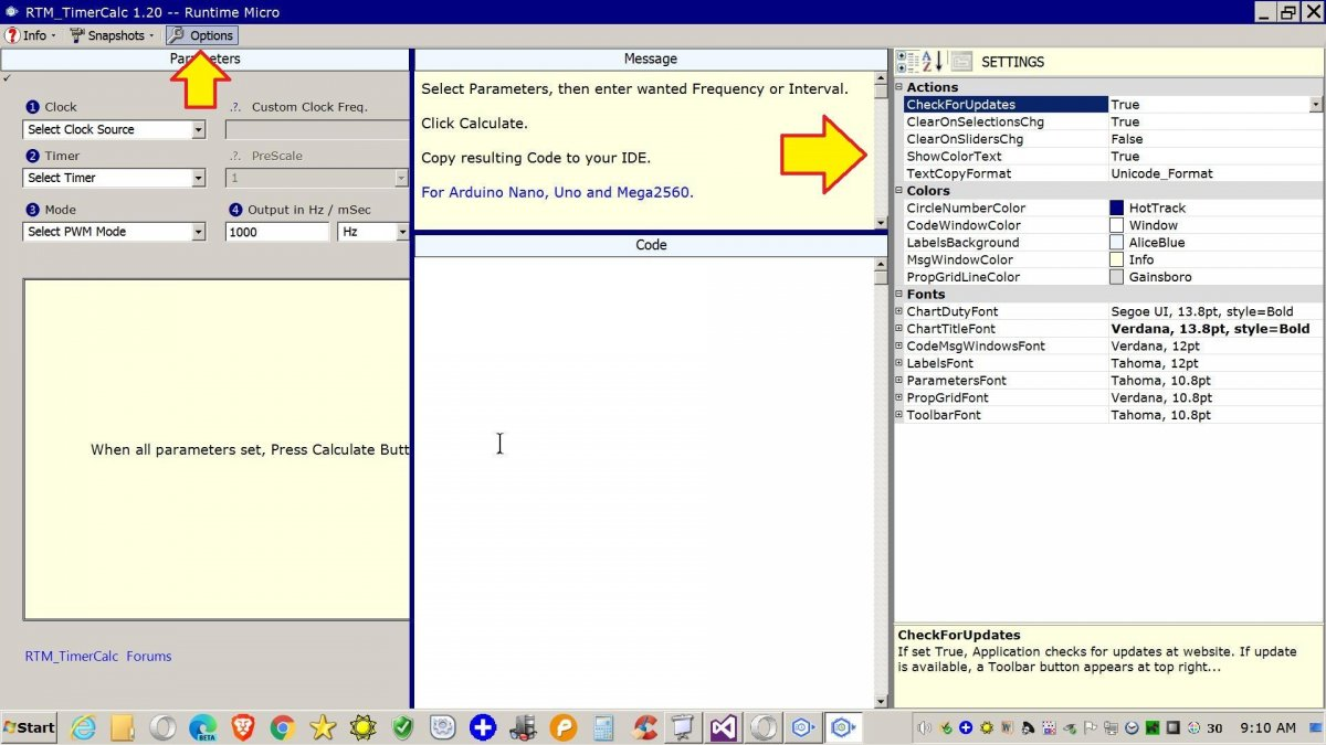 Image shows Settings Panel at right side of RTM_TimerCalc application.