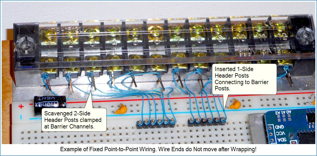 An example of Fixed Point-to-Point wire-wrapped connections.
