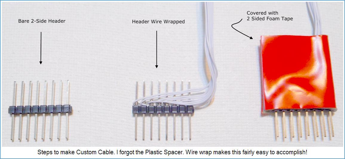 Picture showing steps to make Custom-Cable from Headers and Wire Wrap.