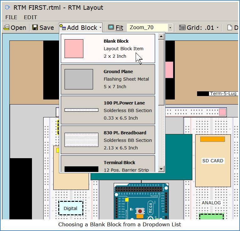 Image shows drop-down selection of Block items for Layout Diagrams.