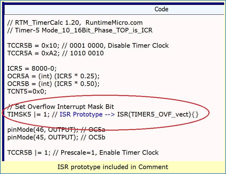 Image shows code output with comment containing ISR prototype C++ code.