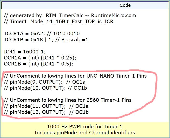 Image shows code output for pinMode and channels identifiers