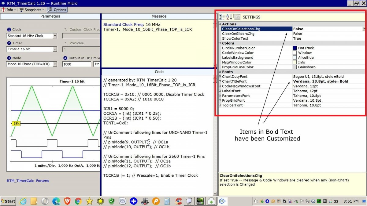 Image shows Settings Grid view within RTM_TimerCalc application.
