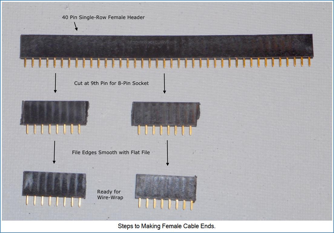 Image shows steps to making Female cable ends from 40 pin Header.