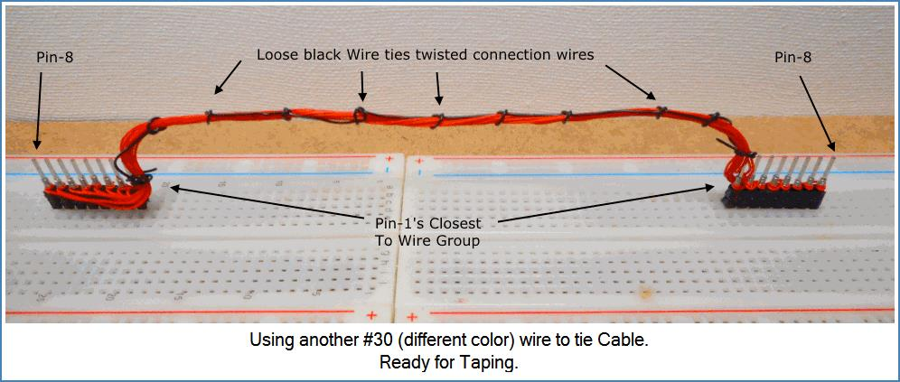 Image shows Cable wires tied with another #30 wire.