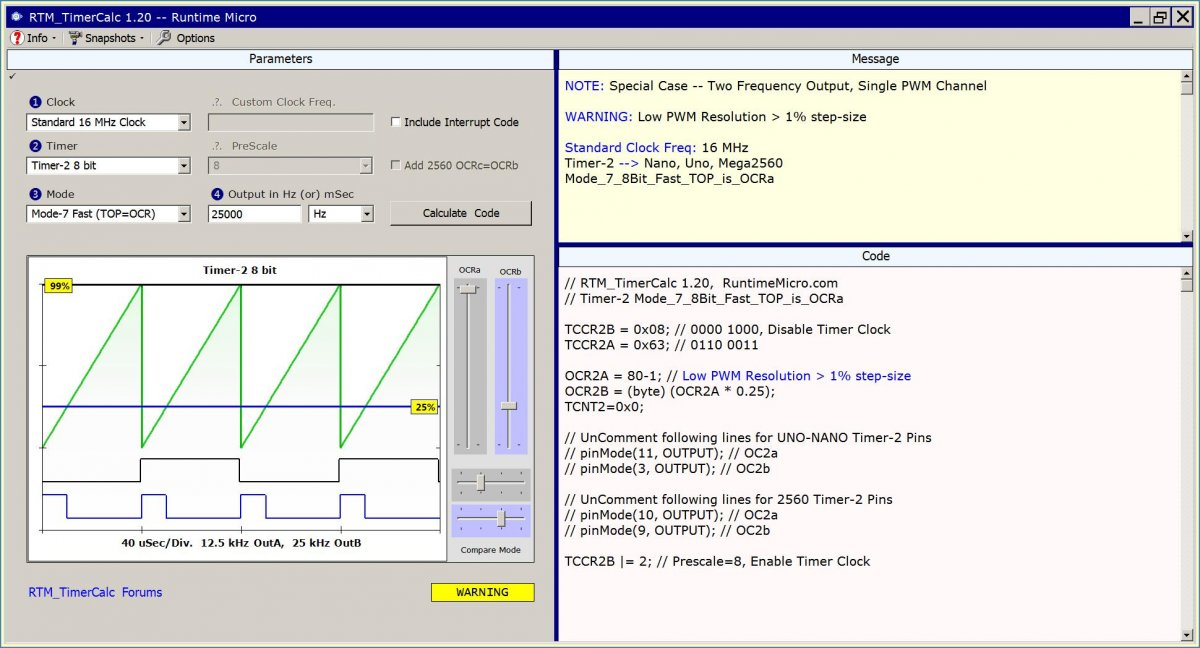 Image shows main full view of RTM_TimerCalc application.