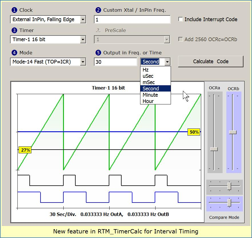 Image shows new Interval selections on RTM_TimerCalc V1.30 ...